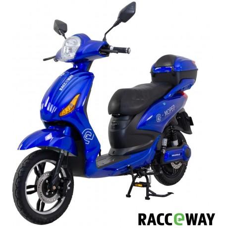 Elektroskútr RACCEWAY E-MOPED, modrý-lesklý s baterií 12Ah